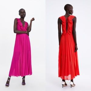 Zara Deep V Neck Pleated Maxi Dress